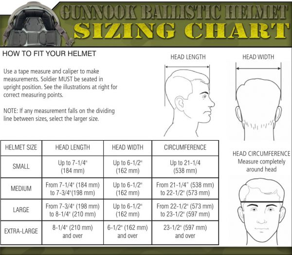 GunNook US helmet sizing chart