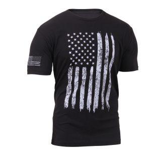 Black Distressed US Flag Athletic Fit T-Shirt