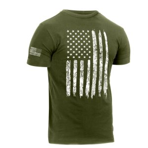 Distressed US Flag Athletic Fit T-Shirt OD