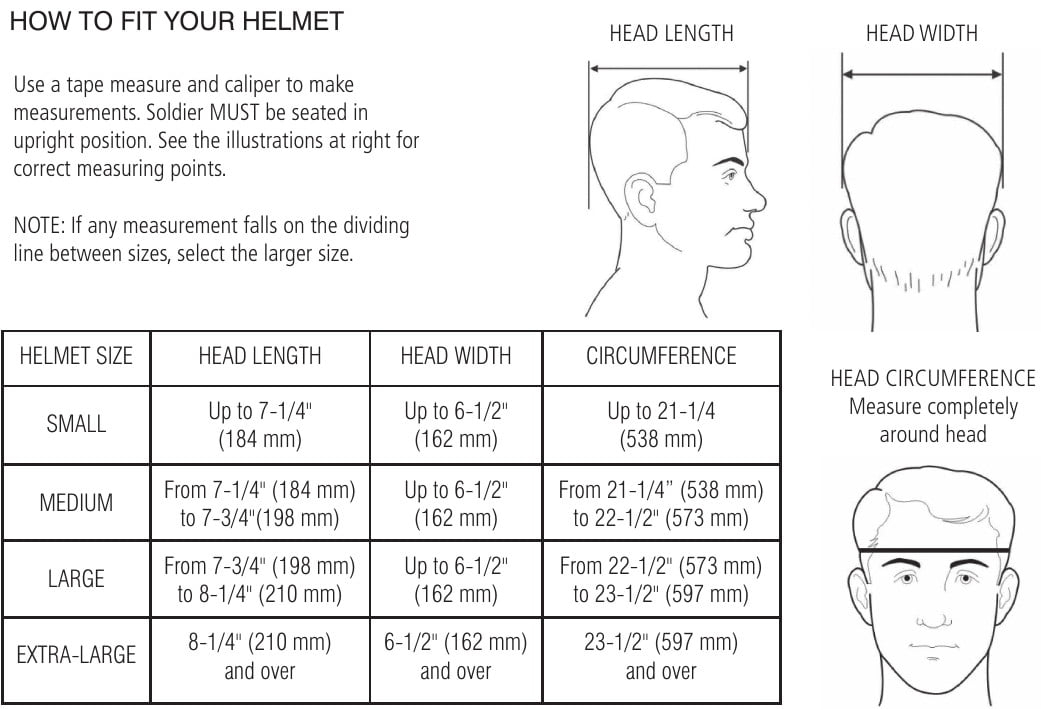 Made in US Helmet Size Chart